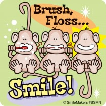 Brush, Floss Smile Monkeys Stickers