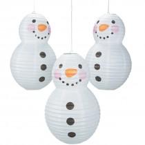 Snowman-Shaped Paper Lanterns