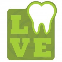 Green Love Tooth Wall Cling