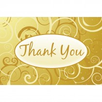 Thank You Yellow Swirls Greeting Cards