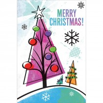 Merry Christmas Colorful Trees Greeting Cards