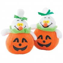 Plush Ghosts in Jack O' Lanterns