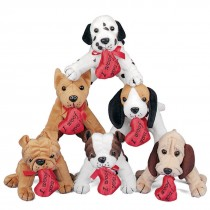 Plush Dogs with Hearts