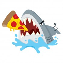 Shark Eating Pizza Re-Stickable Stickers