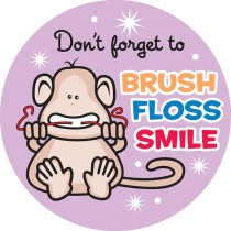 Brush, Floss, Smile Monkeys Round Stickers