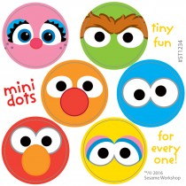 Sesame Street Characters Mini Dot Stickers
