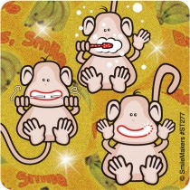 Glitter Brush Floss Smile Monkey Stickers