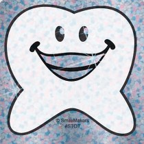 Happy Tooth Shaped Sparkle Stickers