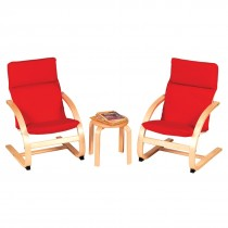 Kiddie Rocker Chair and Table Set (Red)