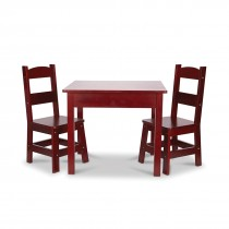 Espresso Wooden Table & 2 Chairs Set