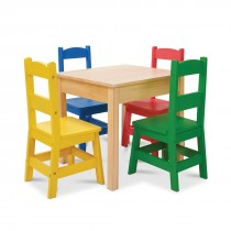Natural Table & 4 Primary Color Chairs Set