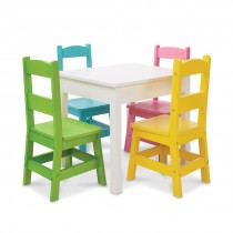 White Table & 4 Pastel Color Chairs Set