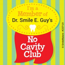 Custom Dental No Cavity Club Sticker