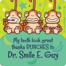 Custom Brush Floss Smile Monkeys Stickers