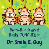 Brush Floss Smile Monkeys Custom Stickers