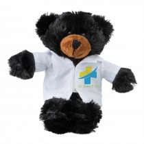 "Plush 8"" Black Bears with Custom Doctor Coat"