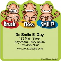 Brush Floss Smile Monkey Magnets