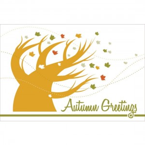 Autumn Greetings Blowing Tree Greeting Cards