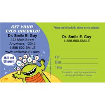 Custom Alien Eyecare Appointment Cards