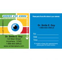 Custom Great Eye Care Sticker Appointment Cards