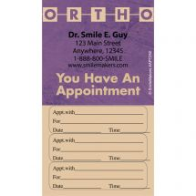 Custom Ortho Three Sticker Appointment Cards