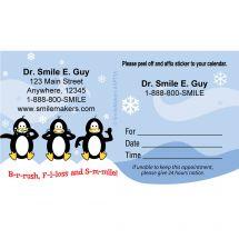 Custom BrushFlossSmile Penguins Appointment Cards