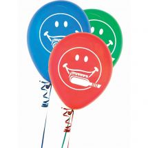 Smiley Face with Toothbrush Latex Balloons