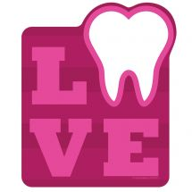 Red Love Tooth Wall Decal
