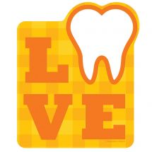 Plaid Love Tooth Wall Decal