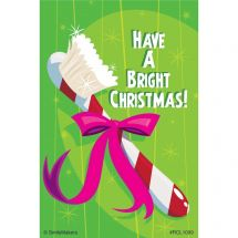 Bright Christmas Toothbrush Dental Recall Cards