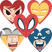 Shaped Marvel Valentine's Day Stickers