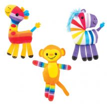 Plush Rainbow Striped Animals