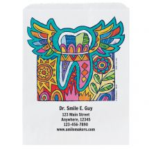 Custom Modern Art Tooth Paper Bags- Small, Large, or Pharmacy