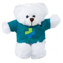 "Plush 8"" White Bears with Custom Scrub Tops"