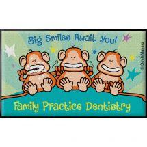 3x5 Brush Floss Smile Monkeys Floor Mat
