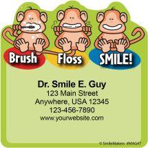 Brush Floss Smile Monkey Magnets