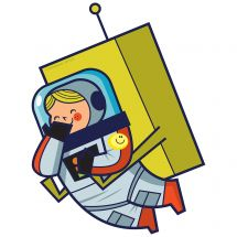 Silly Space Girl Astronaut Wall Decal