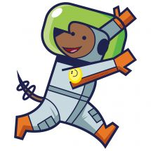 Silly Space Dog Astronaut Wall Decal
