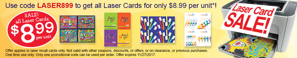 Recall Card Sale - All Laser Cards - $8.99 per unit