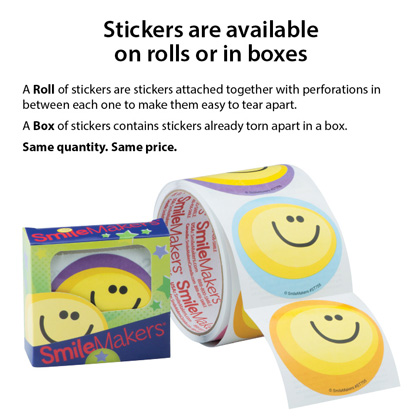 Stickers are available on rolls or in boxes